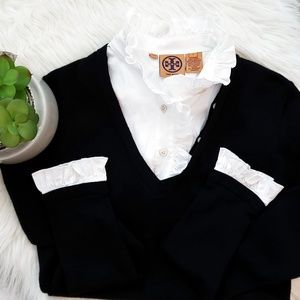 Tory Burch Sweater Black Removable Ruffle Collar S